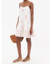 Juliet Dunn Floral-print Drop-waist Cotton-voile Mini Dress - Multicolour