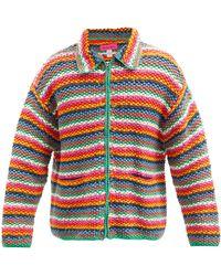 The Elder Statesman Zipped Striped Organic-cotton Cardigan - Multicolour