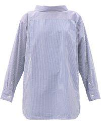 Balenciaga ダブルバック ストライプ コットンシルクシャツ - ブルー