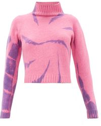The Elder Statesman Highland Tie-dyed Cropped Cashmere Jumper - Pink