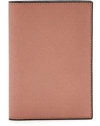 Valextra Grained-leather Passport Holder - Pink