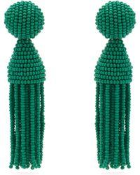 Oscar de la Renta Boucles d'oreilles en perles à houppes - Vert