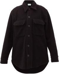 Raey オーバーサイズ ウールブレンド シャツジャケット - ブラック