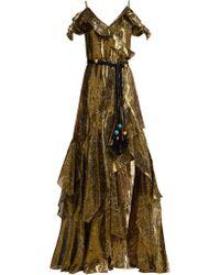 Peter Pilotto Robe à épaules dénudées en lamé de soie mélangé - Vert