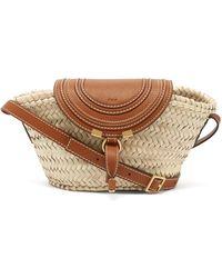 Chloé Marcie Leather And Straw Basket Bag - Marron