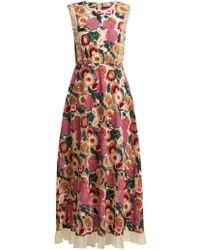 RED Valentino - Floral Lace Midi Dress - Lyst