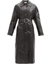 Marni Belted Leather Trench Coat - Black