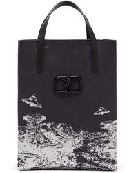 Valentino X Undercover Time Traveler Canvas Tote Bag - Black