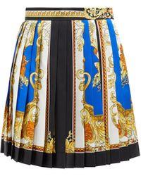 Versace バロック プリーツ シルクツイルミニスカート - ブルー