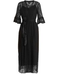 MUVEIL - Belted Floral-embroidered Silk Dress - Lyst