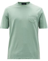 Thom Sweeney Patch-pocket Cotton-jersey T-shirt - Green