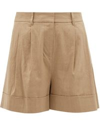 Diane von Furstenberg Shiana Turned Up Cuff Linen Blend Shorts - Natural