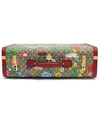 Gucci GG Flora Coated Canvas And Leather Suitcase - Multicolor