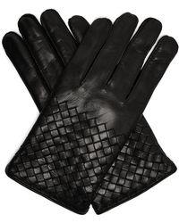 Bottega Veneta Gants en cuir tissage intrecciato - Noir