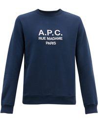A.P.C. Sweat-shirt en coton à logo brodé - Bleu