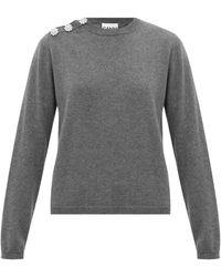 Ganni - クリスタルボタン ラウンドネックセーター - Lyst