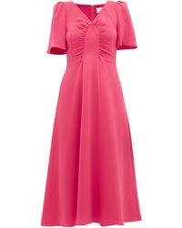 Goat ローズマリー ギャザーシルクドレス - ピンク