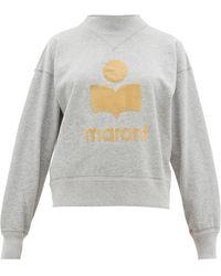 Étoile Isabel Marant Moby Flocked-logo Cotton-blend Sweatshirt - Gray
