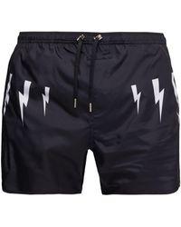 Neil Barrett Lightning Bolt-print Swim Shorts - Blue