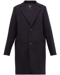 A.P.C. - Carver Single Breasted Felted Wool Blend Overcoat - Lyst