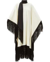 Taller Marmo Mrs. Ross Fringed Wool-blend Crepe Kaftan - Black
