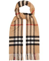 Burberry Giant Cashmere Check Scarf - Natural