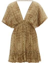 Mes Demoiselles Cordovado V-neck Abstract-print Voile Mini Dress - Brown
