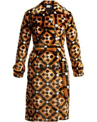 Mary Katrantzou - Stokes Geometric Faux Fur Coat - Lyst
