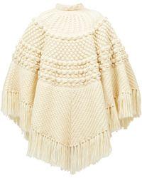 Saint Laurent Poncho en laine à franges - Neutre
