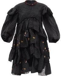Simone Rocha ビーズ フローラル クロッケドレス - ブラック