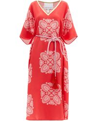 Hester Bly The Silafi Belted Butterfly-print Silk Tunic Dress - Pink