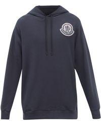2 Moncler 1952 Logo-patch Cotton-jersey Hooded Sweatshirt - Blue