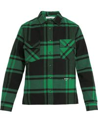 Off-White c/o Virgil Abloh - Checked Cotton Blend Flannel Shirt - Lyst