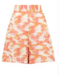 Three Graces London Robin Abstract Ikat-print High-rise Linen Shorts - Multicolour