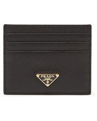 Prada Porte-cartes en cuir saffiano à plaque logo - Noir
