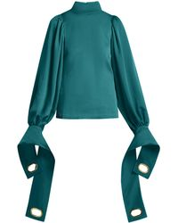 Self-Portrait Exaggerated Cuff Stretch Jersey Blouse - Green