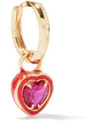 Alison Lou Heart 14kt Gold & Enamel Single Earring - Multicolour