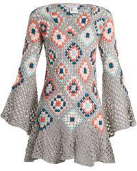MY BEACHY SIDE Bisou V Neck Crochet Knit Cotton Mini Dress - Gray