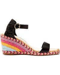 Sophia Webster Lucita Rainbow Raffia Wedge Sandals - Black