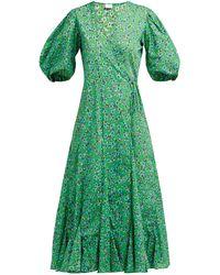 RHODE - Robe portefeuille en coton à imprimé fleuri Fiona - Lyst