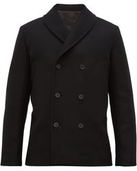 The Row Andrew Double Breasted Wool Blend Jacket - Black