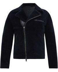 Giorgio Armani シアリング ライダースジャケット - ブルー
