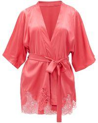Fleur Of England Camellia Silk-blend Charmeuse Robe - Pink