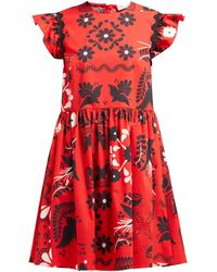 RED Valentino Ruffle Sleeve Floral Print Cotton Mini Dress - Red