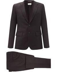 Saint Laurent スリムフィット ウールツイルシングルスーツ - ブラック