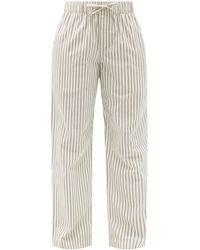Tekla Striped Organic-cotton Pyjama Trousers - Natural