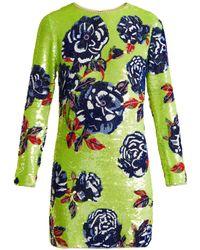 Ashish - Neon Rose Embellished Silk Georgette Mini Dress - Lyst