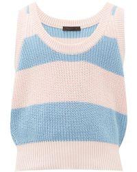 Prada Scoop-neck Striped Cotton Vest - Blue