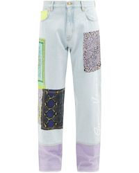 Versace パッチワーク ストレートジーンズ - ブルー