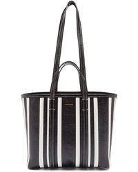 Balenciaga バルベス ミディアム ストライプレザートートバッグ - ブラック